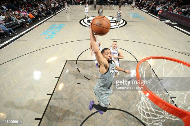 Spencer Dinwiddie of the Brooklyn Nets dunks the ball against the Sacramento Kings on November 22 2019 at Barclays Center in Brooklyn New York NOTE...