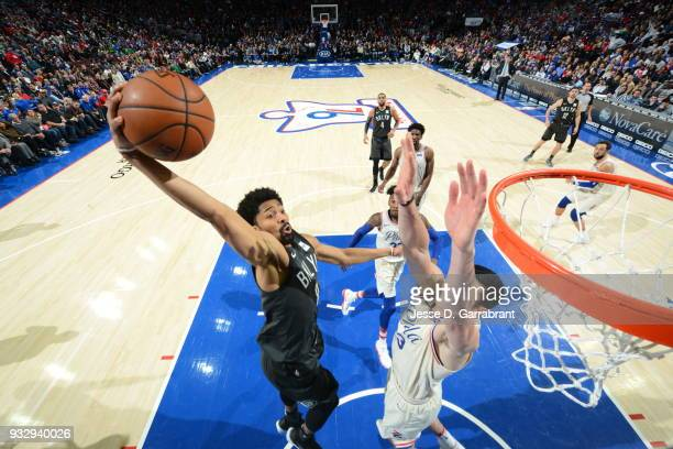 Spencer Dinwiddie of the Brooklyn Nets dunks the ball against the Philadelphia 76ers at the Wells Fargo Center on March 16 2018 in Philadelphia...