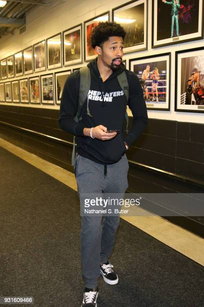 Spencer Dinwiddie of the Brooklyn Nets enters the arena before the game against the Toronto Raptors on March 13 2018 at Barclays Center in Brooklyn...