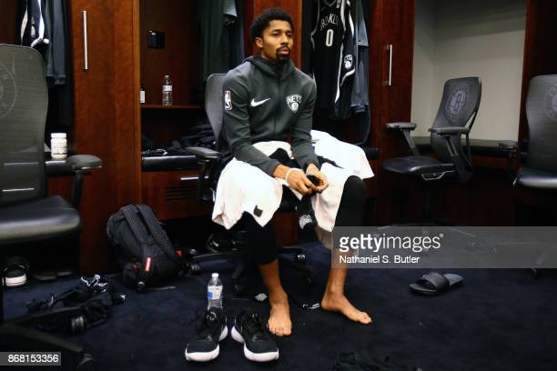 Spencer Dinwiddie of the Brooklyn Nets gets ready before the game against the Cleveland Cavaliers on October 25 2017 at Barclays Center in Brooklyn...