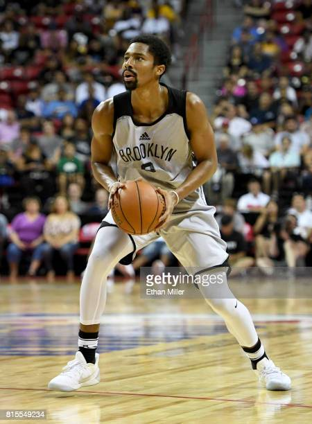 Spencer Dinwiddie of the Brooklyn Nets gets set to shoot against the Los Angeles Lakers during the 2017 Summer League at the Thomas Mack Center on...