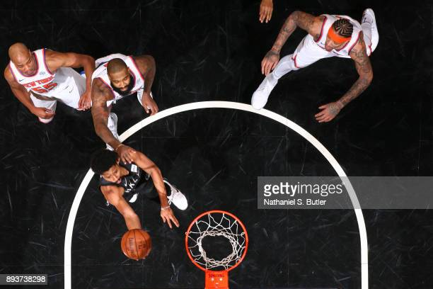 Spencer Dinwiddie of the Brooklyn Nets goes for a lay up against the New York Knicks on December 14 2017 at Barclays Center in Brooklyn New York NOTE...