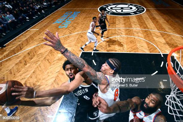 Spencer Dinwiddie of the Brooklyn Nets goes to the basket against the New York Knicks on January 15 2018 at Barclays Center in Brooklyn New York NOTE...