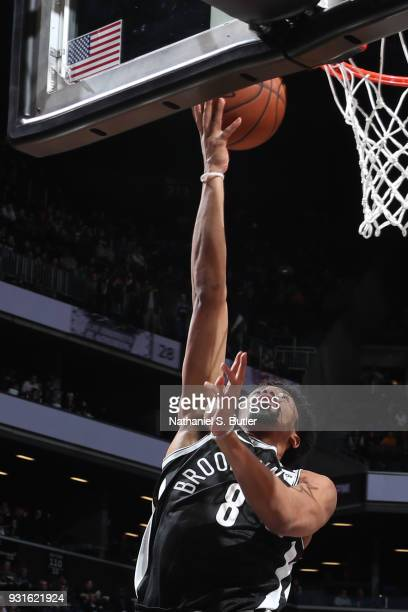 Spencer Dinwiddie of the Brooklyn Nets goes to the basket against the Toronto Raptors on March 13 2018 at Barclays Center in Brooklyn New York NOTE...