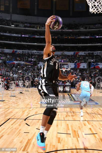 Spencer Dinwiddie of the Brooklyn Nets goes to the basket during the Taco Bell Skills Challenge during State Farm AllStar Saturday Night as part of...