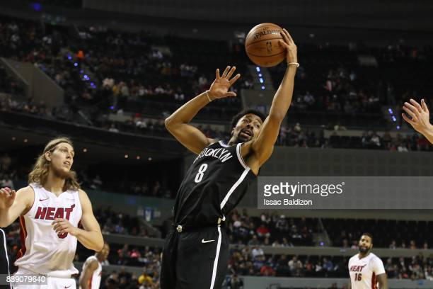 Spencer Dinwiddie of the Brooklyn Nets grabs the rebound against the Miami Heat as part of the NBA Mexico Games 2017 on December 9 2017 at the Arena...