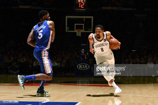 Spencer Dinwiddie of the Brooklyn Nets handles the ball against the Philadelphia 76ers on December 12 2018 at the Wells Fargo Center in Philadelphia...