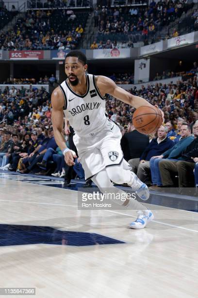 Spencer Dinwiddie of the Brooklyn Nets handles the ball against the Indiana Pacers on April 7 2019 at Bankers Life Fieldhouse in Indianapolis Indiana...