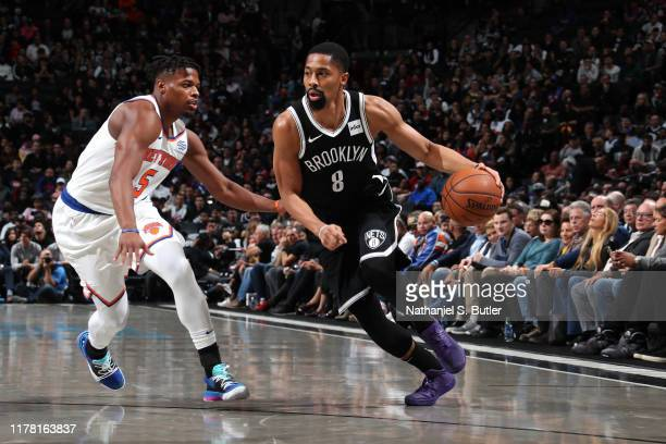 Spencer Dinwiddie of the Brooklyn Nets handles the ball against the New York Knicks on October 25 2019 at Barclays Center in Brooklyn New York NOTE...