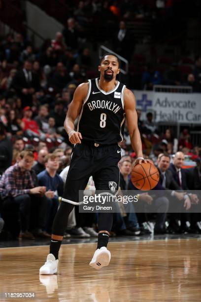 Spencer Dinwiddie of the Brooklyn Nets handles the ball against the Chicago Bulls on November 16 2019 at the United Center in Chicago Illinois NOTE...