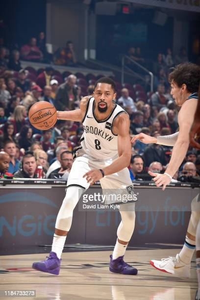 Spencer Dinwiddie of the Brooklyn Nets handles the ball against the Cleveland Cavaliers on November 25 2019 at Quicken Loans Arena in Cleveland Ohio...