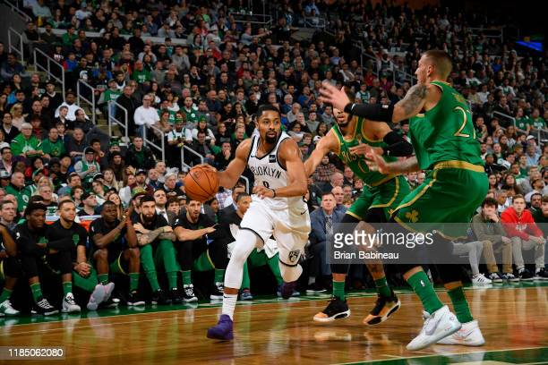 Spencer Dinwiddie of the Brooklyn Nets handles the ball against the Boston Celtics on November 27 2019 at the TD Garden in Boston Massachusetts NOTE...
