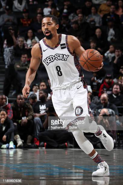 Spencer Dinwiddie of the Brooklyn Nets handles the ball against the Miami Heat on December 1 2019 at Barclays Center in Brooklyn New York NOTE TO...