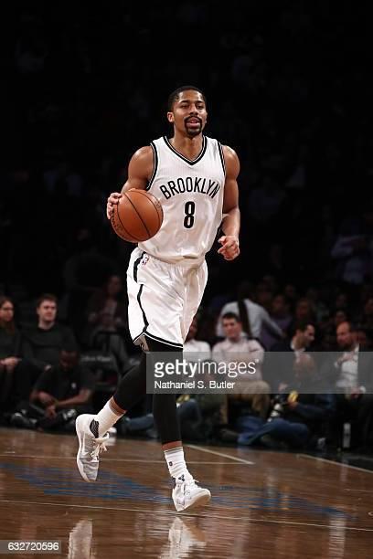 Spencer Dinwiddie of the Brooklyn Nets handles the ball against the Miami Heat on January 25 2017 at Barclays Center in Brooklyn New York NOTE TO...