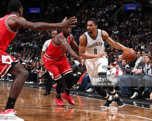 Spencer Dinwiddie of the Brooklyn Nets handles the ball against the Chicago Bulls during the game on April 8 2017 at Barclays Center in Brooklyn New...