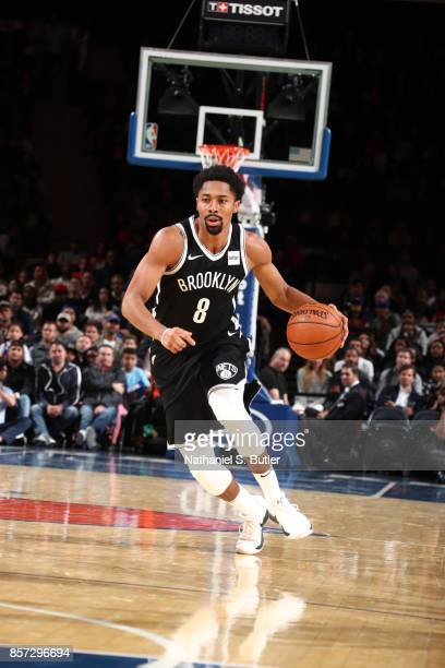 Spencer Dinwiddie of the Brooklyn Nets handles the ball against the New York Knicks during the preseason game on October 3 2017 at Madison Square...