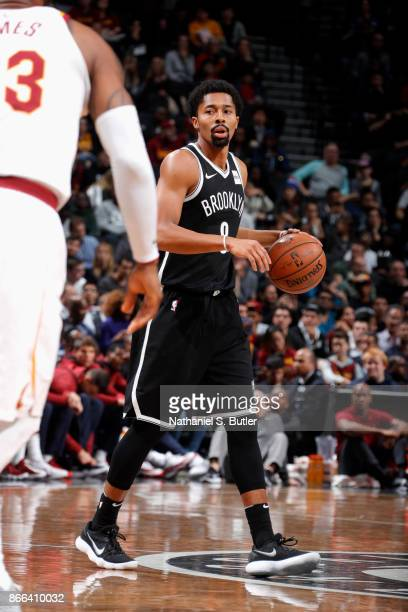 Spencer Dinwiddie of the Brooklyn Nets handles the ball against the Cleveland Cavaliers on October 25 2017 at Barclays Center in Brooklyn New York...