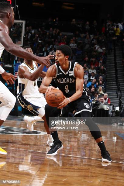 Spencer Dinwiddie of the Brooklyn Nets handles the ball against the Denver Nuggets on October 29 2017 at Barclays Center in Brooklyn New York NOTE TO...