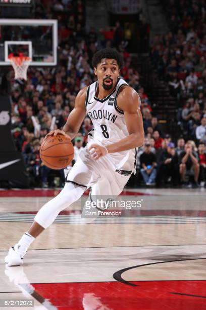Spencer Dinwiddie of the Brooklyn Nets handles the ball against the Portland Trail Blazers on November 10 2017 at the Moda Center in Portland Oregon...