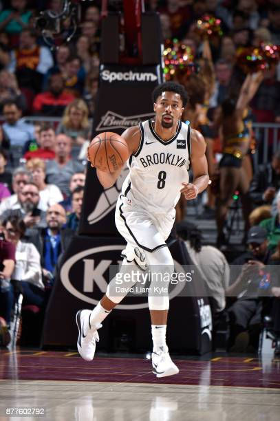 Spencer Dinwiddie of the Brooklyn Nets handles the ball against the Cleveland Cavaliers on November 22 2017 at Quicken Loans Arena in Cleveland Ohio...