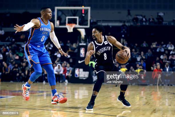 Spencer Dinwiddie of the Brooklyn Nets handles the ball against the Oklahoma City Thunder as part of the NBA Mexico Games 2017 on December 7 2017 at...