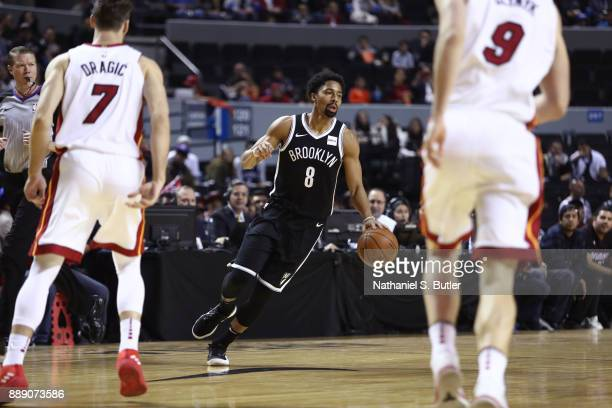 Spencer Dinwiddie of the Brooklyn Nets handles the ball against the Miami Heat as part of the NBA Mexico Games 2017 on December 9 2017 at the Arena...