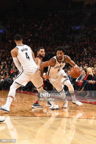 Spencer Dinwiddie of the Brooklyn Nets handles the ball against the Toronto Raptors on December 15 2017 at the Air Canada Centre in Toronto Ontario...