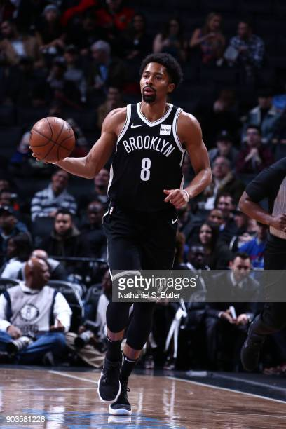Spencer Dinwiddie of the Brooklyn Nets handles the ball against the Detroit Pistons on January 10 2018 at Barclays Center in Brooklyn New York NOTE...
