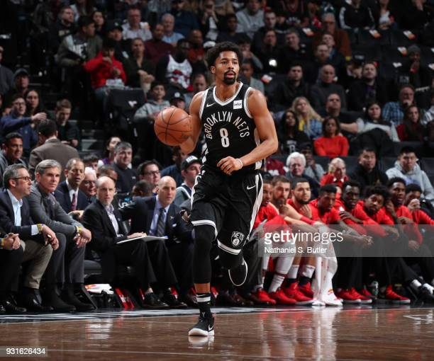 Spencer Dinwiddie of the Brooklyn Nets handles the ball against the Toronto Raptors on March 13 2018 at Barclays Center in Brooklyn New York NOTE TO...