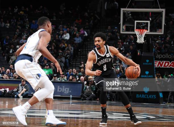 Spencer Dinwiddie of the Brooklyn Nets handles the ball against the Dallas Mavericks on March 17 2018 at Barclays Center in Brooklyn New York NOTE TO...