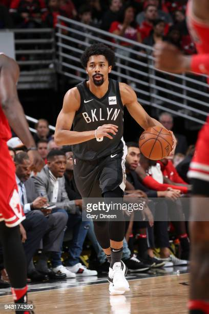 Spencer Dinwiddie of the Brooklyn Nets handles the ball against the Chicago Bulls on April 7 2018 at the United Center in Chicago Illinois NOTE TO...