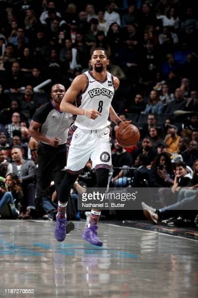 Spencer Dinwiddie of the Brooklyn Nets handles the ball during a game against the Denver Nuggets on December 8 2019 at Barclays Center in Brooklyn...