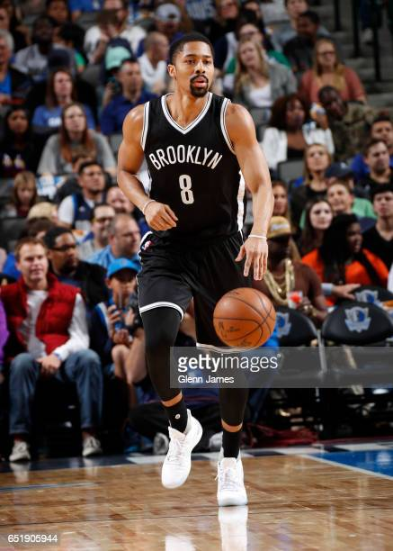 Spencer Dinwiddie of the Brooklyn Nets handles the ball during a game against the Dallas Mavericks on March 10 2017 at American Airlines Center in...