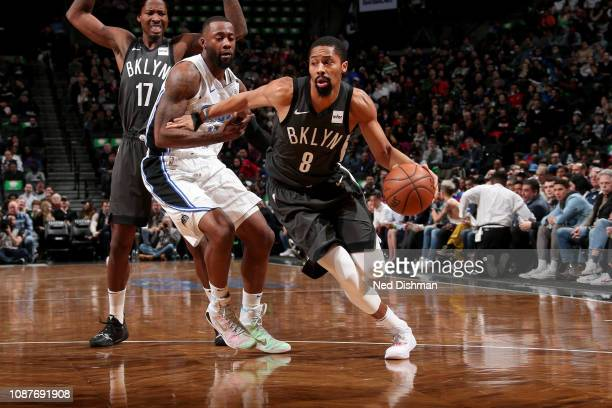Spencer Dinwiddie of the Brooklyn Nets handles the ball during the game against the Orlando Magic on January 23 2019 at Barclays Center in Brooklyn...