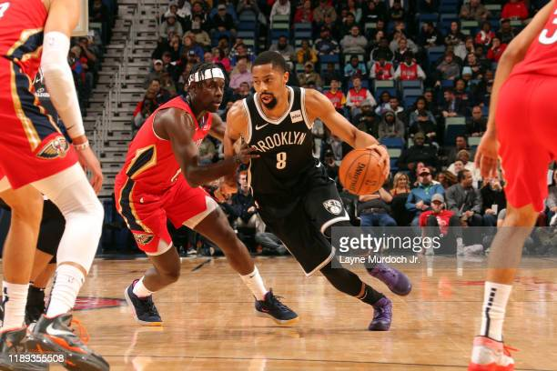 Spencer Dinwiddie of the Brooklyn Nets handles the ball during the game against the New Orleans Pelicans on December 17 2019 at the Smoothie King...
