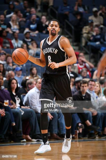 Spencer Dinwiddie of the Brooklyn Nets handles the ball during the game against the Memphis Grizzlies on March 6 2017 at FedExForum in Memphis...