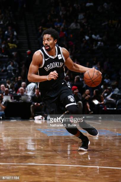 Spencer Dinwiddie of the Brooklyn Nets handles the ball during the game against the Utah Jazz on November 17 2017 at Barclays Center in Brooklyn New...