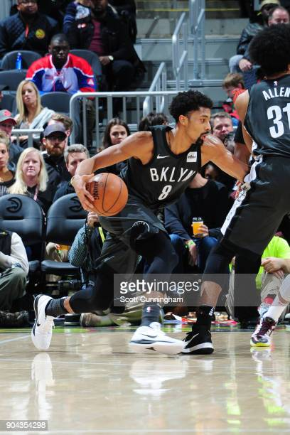 Spencer Dinwiddie of the Brooklyn Nets handles the ball during the game against the Atlanta Hawks on January 12 2018 at Philips Arena in Atlanta...