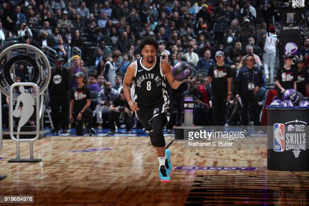 Spencer Dinwiddie of the Brooklyn Nets handles the ball during the Taco Bell Skills Challenge during State Farm AllStar Saturday Night as part of the...