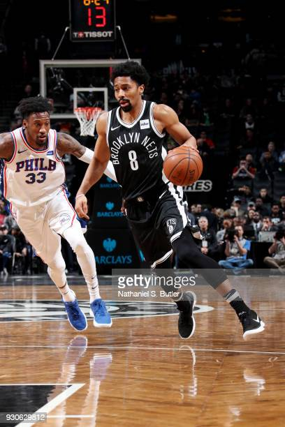 Spencer Dinwiddie of the Brooklyn Nets handles the ball during the game against the Philadelphia 76ers on March 11 2018 at Barclays Center in...