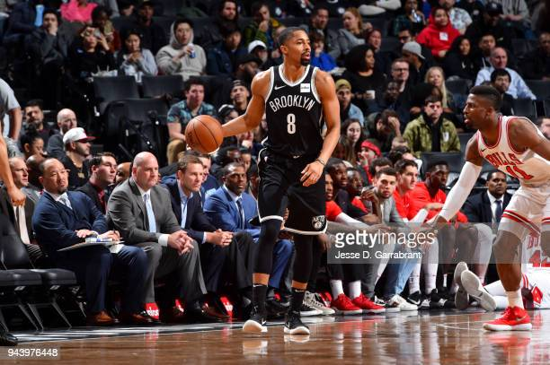 Spencer Dinwiddie of the Brooklyn Nets handles the ball during the game against the Chicago Bulls on April 9 2018 at Barclays Center in Brooklyn New...