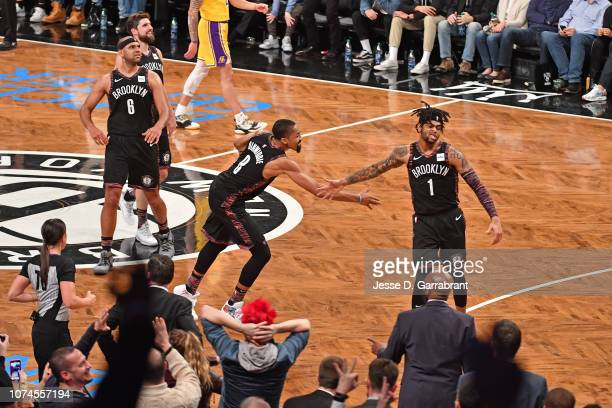 Spencer Dinwiddie of the Brooklyn Nets highfives D'Angelo Russell of the Brooklyn Nets against the Los Angeles Lakers on December 18 2018 at Barclays...