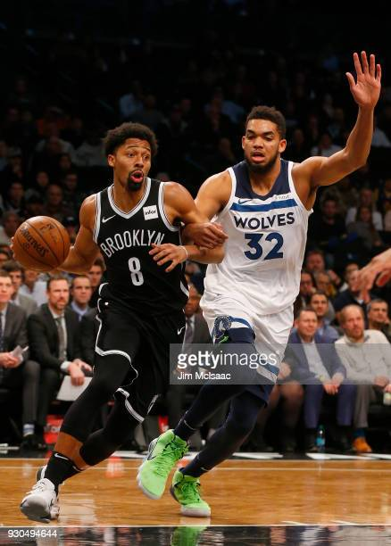 Spencer Dinwiddie of the Brooklyn Nets in action against KarlAnthony Towns of the Minnesota Timberwolves at Barclays Center on January 3 2018 in the...