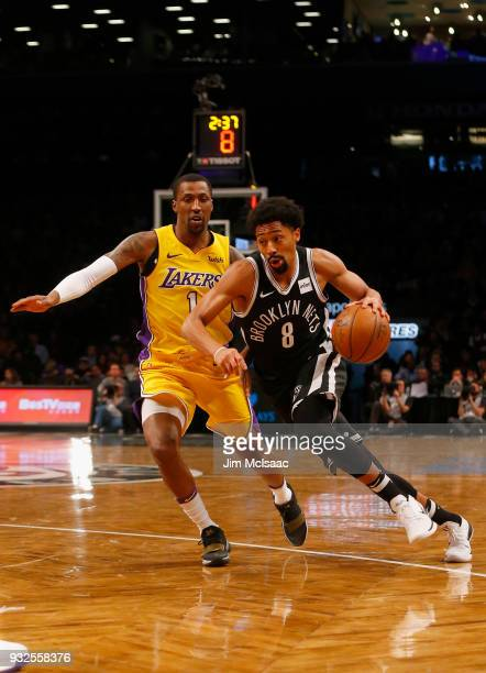 Spencer Dinwiddie of the Brooklyn Nets in action against Kentavious CaldwellPope of the Los Angeles Lakers at Barclays Center on February 2 2018 in...