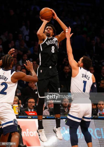 Spencer Dinwiddie of the Brooklyn Nets in action against the Minnesota Timberwolves at Barclays Center on January 3 2018 in the Brooklyn borough of...