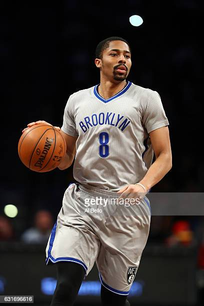 Spencer Dinwiddie of the Brooklyn Nets in action against the Atlanta Hawks during their game at the Barclays Center on January 10 2017 in New York...