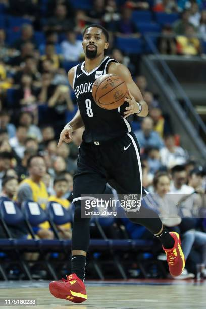 Spencer Dinwiddie of the Brooklyn Nets in action against the Los Angeles Lakers during a preseason game as part of 2019 NBA Global Games China on...
