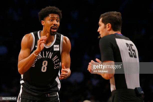 Spencer Dinwiddie of the Brooklyn Nets in action against the Los Angeles Lakers at Barclays Center on February 2 2018 in the Brooklyn borough of New...