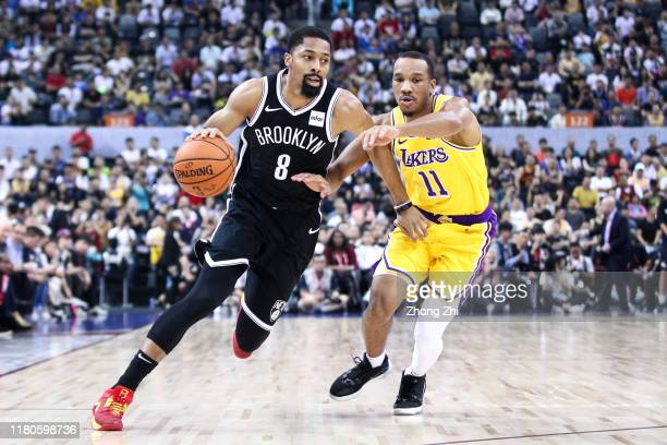 Spencer Dinwiddie of the Brooklyn Nets in action during the match against Avery Bradley of the Los Angeles Lakers during a preseason game as part of...