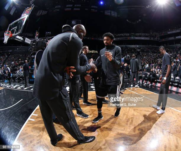 Spencer Dinwiddie of the Brooklyn Nets is introduced before the game against the Toronto Raptors on March 13 2018 at Barclays Center in Brooklyn New...